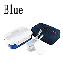 2015 Portable Bento Lunch Box Set Food Container Thermal Bento Box Set with Chopstics+spoon+insulated Bag (Blue)