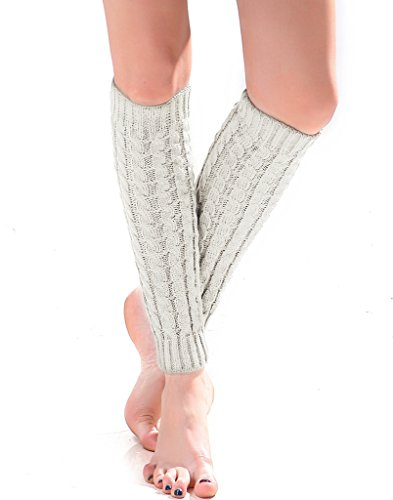 Women's Cable Knit Leg Warmers Knitted Crochet Long Socks by Super Z Outlet (White) (Color: White, Tamaño: One Size)