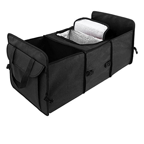 nk Storage Organizer, Waterproof with Cold Insulation Cabinet Portable Collapsible Foldable Compartments, Heavy Duty Strong and Durable Cargo Container (Black, Oxford) (Insulated Cabinet)