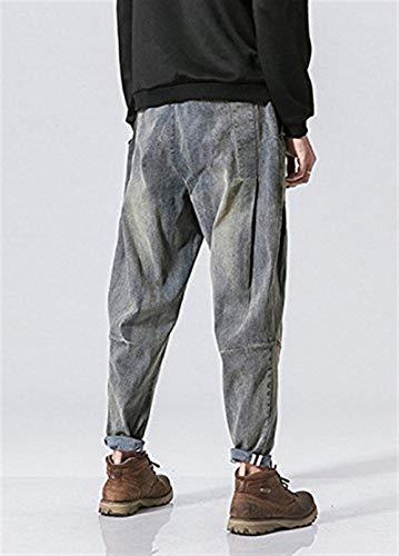 Denim Da Pantaloni Harem Stile Giovane Bassa Vita A Larghi Uomo Blau Jeans Jogging dXwOxrqZw