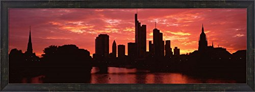 Cityscape, Rhine River, Frankfurt, Germany by Panoramic Images Framed Art Print Wall Picture, Espresso Brown Frame, 38 x 14 inches (Framed River Rhine)