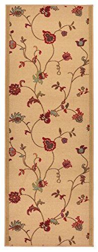Roll Scroll (Rubber Collection Custom Size Flower Scroll Floral Roll Runner 26 in Wide x Your Length Choice Slip Resistant Rubber Back Area Rugs and Runners (Beige, 22 ft x 26 in))