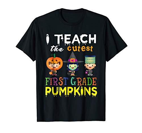 I Teach Cutest First Grade Pumpkins Halloween Teacher Shirt -