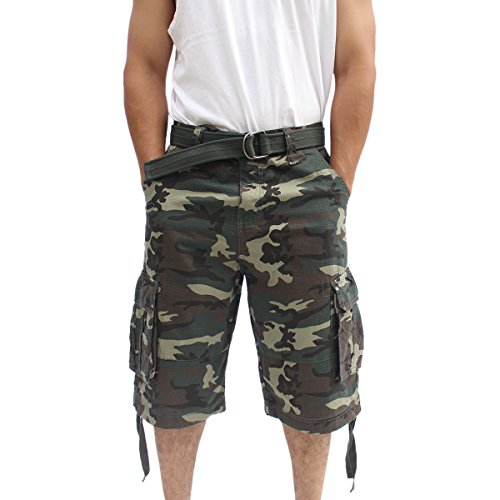 La Gate Mens Big and Tall Belted up to size 50 Cargo Short (42, Green Camo)
