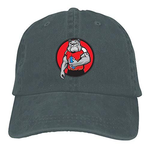 Bulldog As Rugby Football Plain Adjustable Cowboy Cap Denim Hat for Women and Men