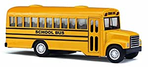 """5"""" Die Cast Long-Nose School Bus with Pull-Back Action"""