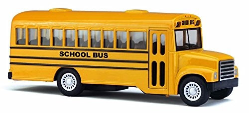 cool 5 die cast long nose school bus with pull back action