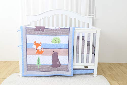 California Drapes 4PC Crib Bedding Set, 1 Comforter, 1 Bumper, 1 Fitted Sheet & 1 Dust Ruffle - Bear Brothers ()