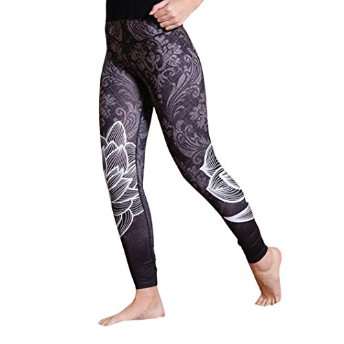 Napoo Clearance Women Lotus Print High Waist Pleated Fitness Leggings Yoga Stretch Pants