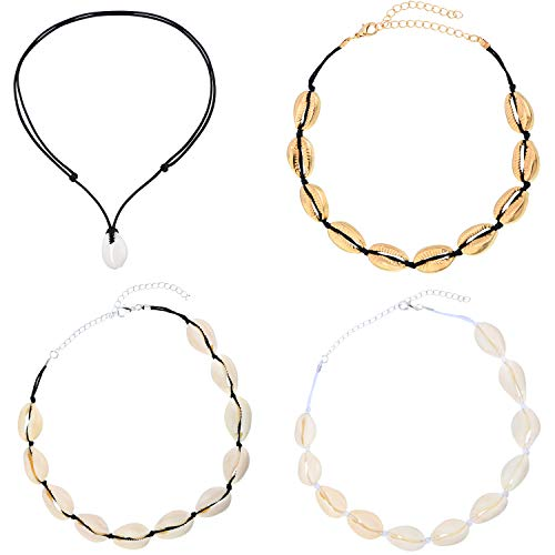 - 4 Pieces Natural Shell Choker Necklace Summer Beach Boho Hawaii Shell Necklaces for Girls Women, 4 Types
