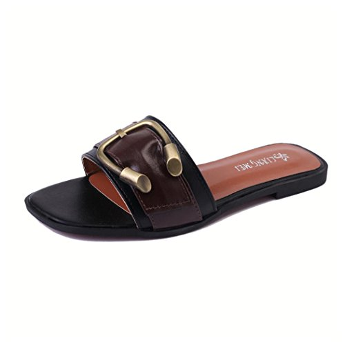 Inkach Women's Summer Shoes Peep Toe Low Roman Sandals Casual Flip Flops Shoes (5.5 US, Black) (Knotted Peep Toe Pumps)