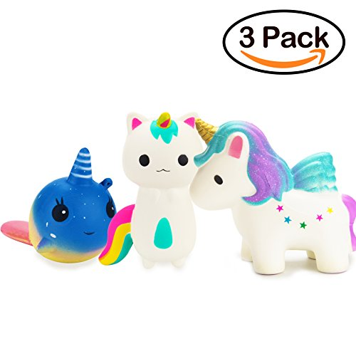 R HORSE Cute Rainbow Unicorn, Galaxy Whale, Rainbow Fox Set Kawaii Cream Scented Squishy Slow Rising Decompression Squeeze Toys for Kids or Stress Relief Toy Hop Props, Decorative Props Large (3Pack) by R • HORSE