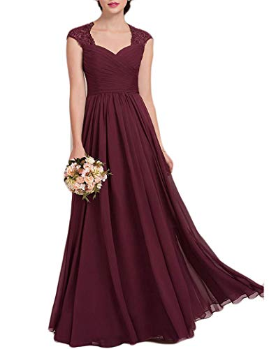 Women's Lace Beaded Cap Sleeves Bridesmaid Dresses A-line Chiffon Long Formal Prom Dresses US10 Size Burgundy