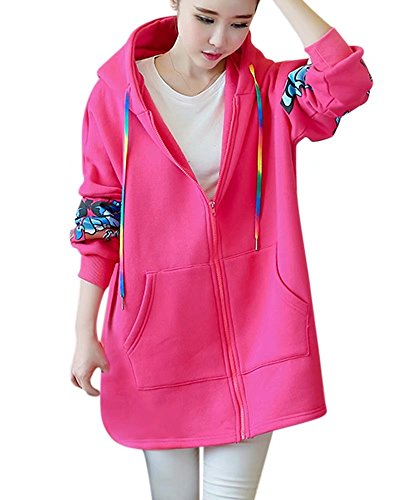 NAWONGSKY Women's Long Sleeves Casual Butterfly Print Warm Hooded Hoodie Zip Up Long Sweatshirt Jacket Coat Outwear With Pockets, Hot Pink, Tag 4XL = US XL(16) (Graphic Hoodie Butterfly)