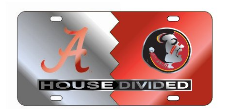Alabama Crimson Tide - FSU Seminoles Laser Mirrored House Divided License Plate Tag