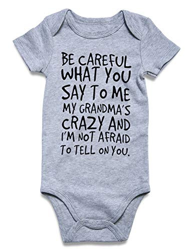 Funnycokid Unisex-Baby Newborn One-Piece Bodysuit Cotton Rompers Be Careful What You Say to Me My Grandma's Crazy and I'm Not Afraid to Tell on You Infant Jumpsuit 0-3 Months ()