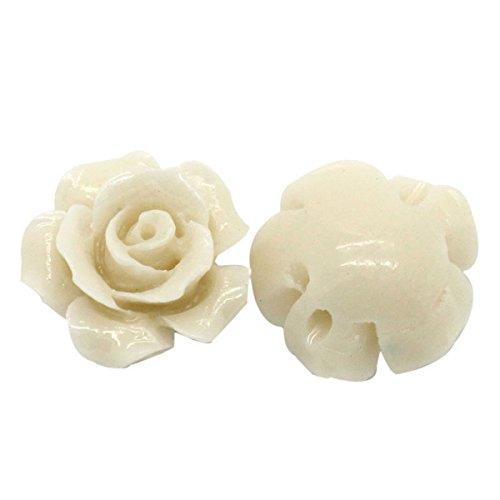 Housweety Bijoux Accessoires - 20 Perles Fleur Corail synthetique Beige 13mm x 12mm