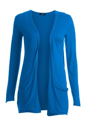 Cárdigan de mujer de manga larga, SM-ML azul cobalto