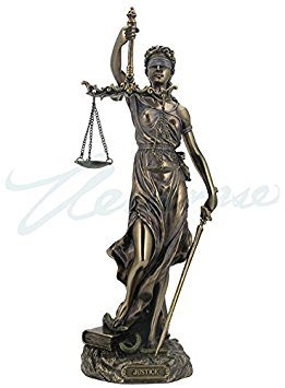 Cold Cast Bronze Cardinal Virtues Our Lady of Justice Statue Figurine, 11 3/4 Inch