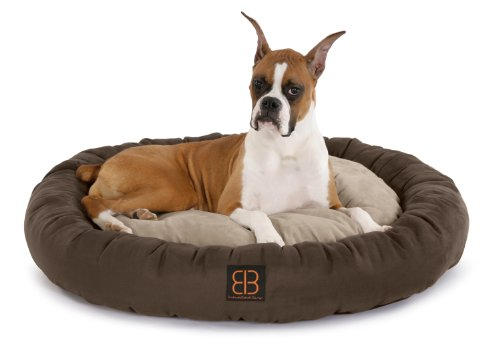 Petego Velvety Donut Round Bolster Pet Bed, Medium, Espresso/Stone/Sage, My Pet Supplies
