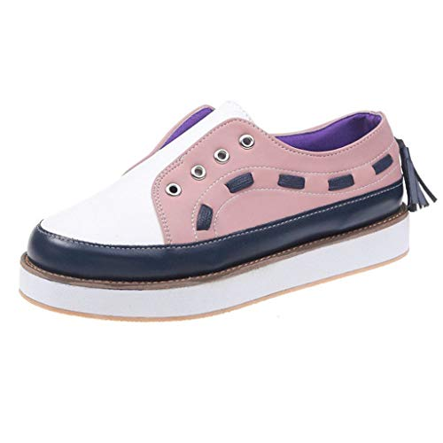 NEARTIMEWomens Casual Shoes, Fashion Patchwork Rome Retro Single Shoes Mixed Colors Slip On Sneakers Loafers Shoes -