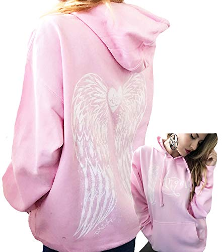 Demi Loon Sexy Pink Angel Wings Tattoo Hoodie Graphic Sexy Women's Pullover Hooded Sweatshirt (XL, Pink Angel Wings Hoodie) ()