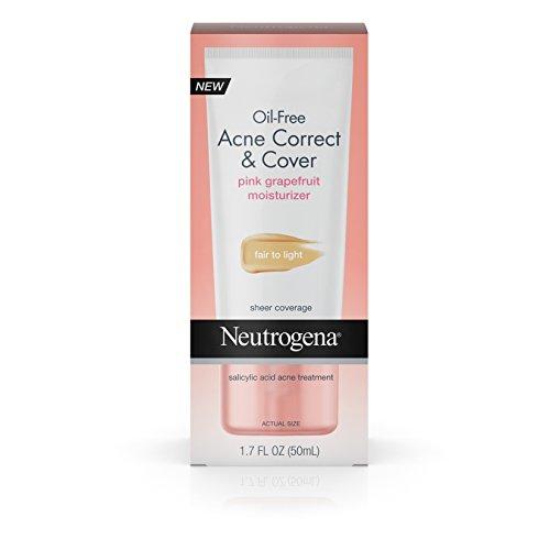 Neutrogena Oil-Free Acne Moisturizer Correct & Cover Pink Grapefruit, Fair To Light, 1.7 Fl. Oz