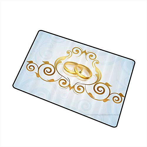 (Mdxizc Front Door Mat Large Outdoor Indoor Wedding Decorations Vintage Style Victorian Ornaments on Blue Backdrop Rings Classical W35 xL47 Personality Light Blue Gold)