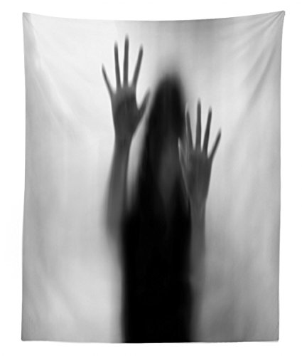 Lunarable Horror House Tapestry Twin Size, Silhouette of Woman behind the Veil Scared to Death Obscured Paranormal Photo Print, Wall Hanging Bedspread Bed Cover Wall Decor, 68 W X 88 L Inches, Gray by Lunarable