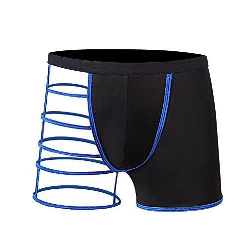 Men's Hot Sexy Underwear Hollowed Straps Comfy Boxer Briefs One Size, Blue