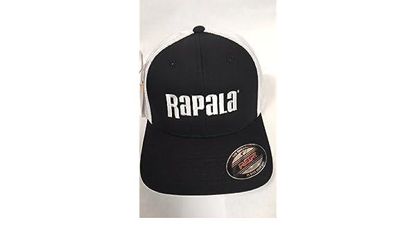 f41e673827a58 Amazon.com  Rapala Flex Fit Cap Black White Mesh Center Logo  Sports    Outdoors