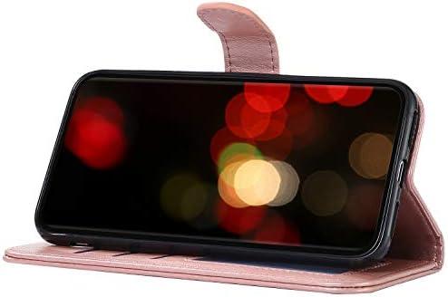 Uposao Kompatibel mit Samsung Galaxy A50 Hülle Leder Schutzhülle Klapphülle Ledertasche Glitzer Diamant Strass Bling Blumen Bär Muster Flip Case Brieftasche Handyhülle Kartenfächer,Grün