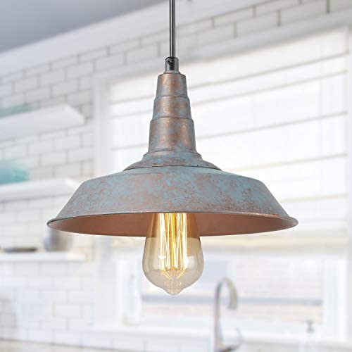 LALUZ Farmhouse Pendant Lighting for Kitchen Island, Barn Rustic Pendant Light for Dining Room, Bedroom, Living Room, Blue Bronze Distressed Finish