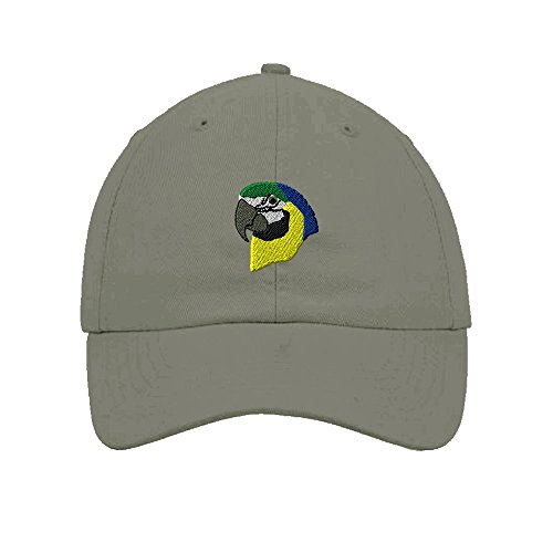Parrot Head Embroidery Twill Cotton 6 Panel Low Profile Hat Light Grey 3b648fce45eb