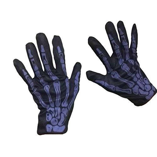 TINKSKY Unisex Fit Halloween Horror Skull Claw Bone Skeleton Goth Racing Biker Full Gloves Halloween Costumes (Purple) -