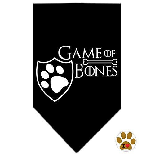Game of Bones Bandana Scarf and Pin Set - in Color Black - Dog Sizes Small thru Large (Small (fits 8