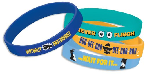 Disney Phineas and Ferb Rubber Bracelets (4) (Multi-colored) Party (Disney Halloween Phineas And Ferb Games)