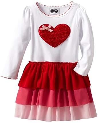 Mud Pie Little Girls' Heart Dress With Tiered Skirt, Multi, 5T