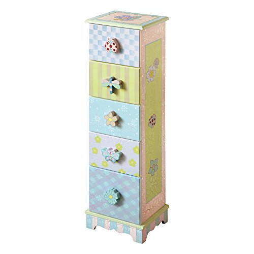 Fantasy Fields - Crackled Rose Thematic 5 Drawer Wooden Cabinet for Kids Storage | Imagination Inspiring Hand Crafted & Painted Details   Non-Toxic, Lead Free Water-based Paint (Bed 5 Drawers)