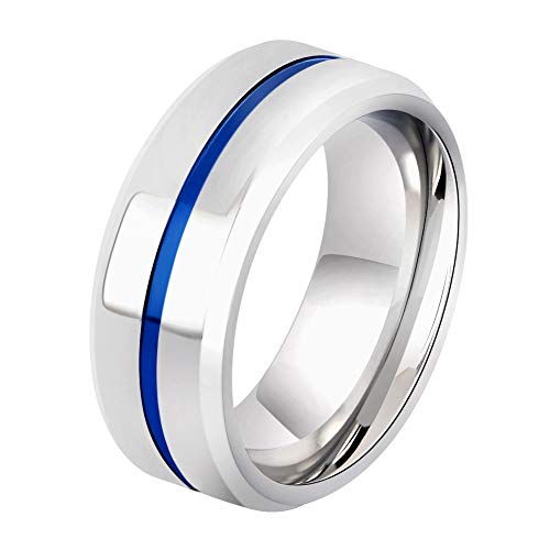 - AYARUN Silver Wedding Band Ring Polished Finish Blue Grooved Center 8MM Titanium Ring for Men Size 9