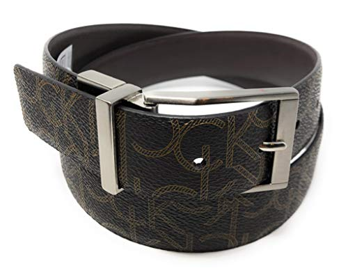 Calvin Klein Men's Reversible CK Logo Synthetic Leather Belt Black 34