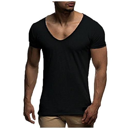 Hellomiko T-Shirt Pour Hommes Mode Solide Couleur Chemise Muscle Tear Slim Manches Courtes Sports Top (L, Noir)