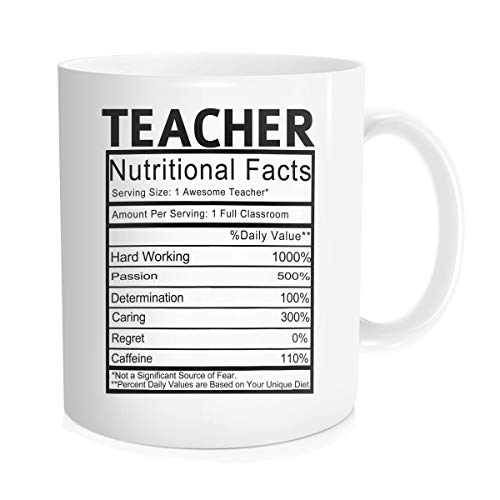 Hasdon-Hill Teaching Gifts Teacher Nutritional Facts Label Classroom Decorations Coffee Mug Cup, Funny Present for Teacher's Day Mother's Day Christmas Birthday for Teacher Or Mom 11 OZ White (The Best Present For Teacher)