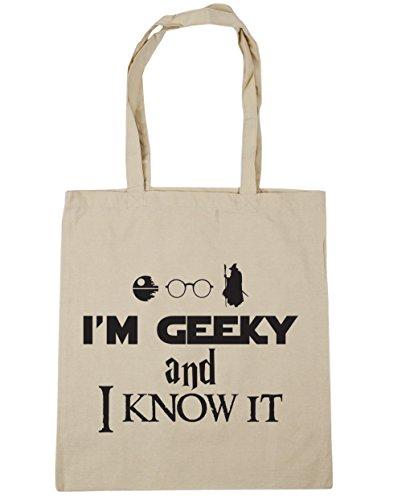 HippoWarehouse I 'm Geeky y I know it Tote Compras Bolsa de playa 42cm x38cm, 10litros Natural