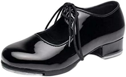 [Anes&Ane] 女性 タップダンス 靴 ブラック エナメル ストラップ リボン タップシューズ ダンス ヒール シューズ 婦人 レディース く