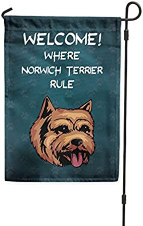 Fastasticdeals Welcome Where Norwich Terrier Dog Rule Yard Patio House Banner Garden Flag Stake Flag Only 10 1 2 X 16 Garden Outdoor