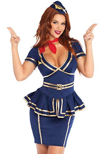 Stewardess Halloween Costume (Leg Avenue Women's 3 Piece Friendly Skies Flight Attendant, Blue,)