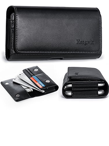 iPhone 8 Plus 7 Plus Holster Belt Case,Premium Pu Leather Horizontal Carrying Case Smartphone Sleeve Cover Hold 2 Cellphones for 5.5 inch/Belt Loop/Magnetic Snap Closure for Samsung S8 Plus-Black