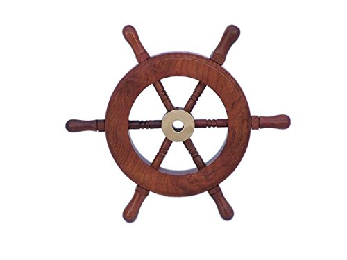 Hampton Nautical  Deluxe Class Wood and Brass Decorative Ship Wheel 6