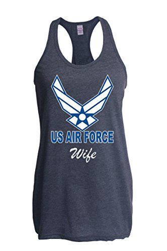Ugo US Air Force Wife Aim High Fly-Fight-Win Support USAF Matching Couple w Husband Gift for Mothers Day Homecoming Party Xmas Women's Next Level Ladies' Ideal Racerback Tank Clothes